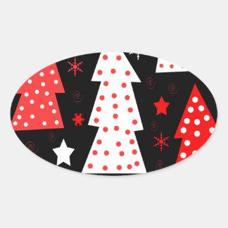 Noël espiègle rouge sticker ovale