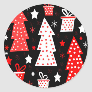 Noël espiègle rouge sticker rond