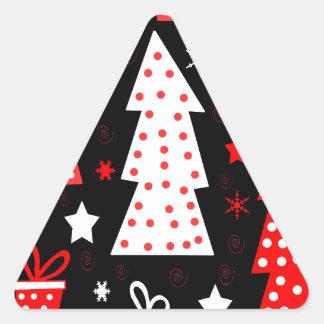 Noël espiègle rouge sticker triangulaire