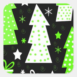 Noël espiègle vert sticker carré