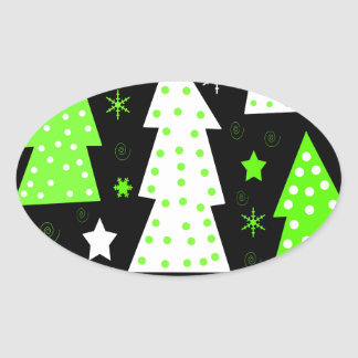 Noël espiègle vert sticker ovale