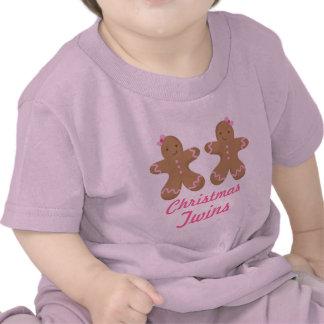 Noël jumelle la pièce en t de nourrisson de t-shirt