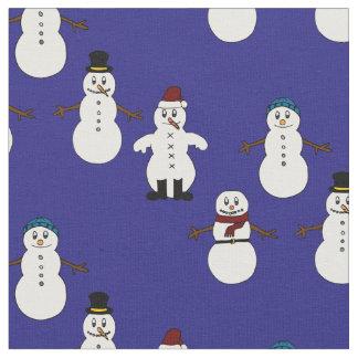 Noël mignon bleu de bonhomme de neige de tissu