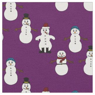 Noël mignon pourpre de bonhomme de neige de tissu
