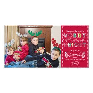 Noël moderne de photo de joyeuses vacances lumineu modèle pour photocarte