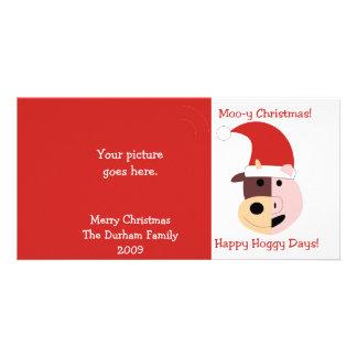 Noël MOO-y et jours heureux de Hoggy ! Photocarte Personnalisée