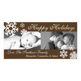 Noël multiple Photocard (Brown) de flocons de neig Cartes De Vœux Avec Photo