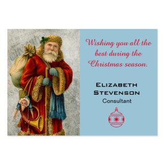 Noël souhaite à Vieux Monde vintage Père Noël de Carte De Visite Grand Format