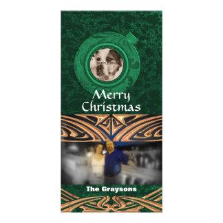 Noël vert de carte photo des vacances deux Joyeux
