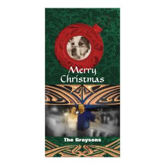 Noël vert rouge de carte photo des vacances deux