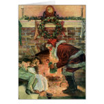 Noël vintage, cheminée victorienne du père noël carte de vœux