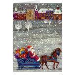 Noël vintage, cheval Sleigh ouvert du père noël Carte