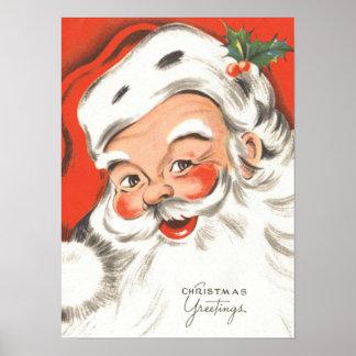 Noël vintage, le père noël gai posters
