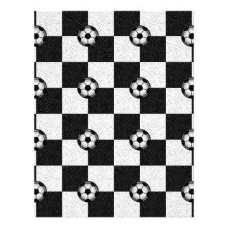 Noir et blanc Checkered avec des ballons de footba Prospectus 21,6 Cm X 24,94 Cm