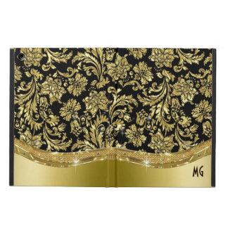 Noir et damassés florales vintages d'or