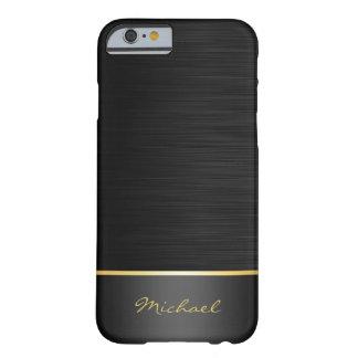 noir et motif d'acier inoxydable d'or avec le nom coque iPhone 6 barely there