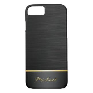 noir et motif d'acier inoxydable d'or avec le nom coque iPhone 7