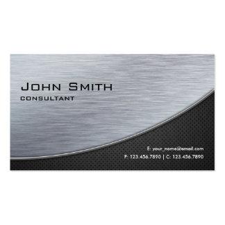 Noir moderne argenté élégant professionnel en méta cartes de visite professionnelles