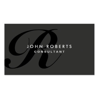 Noir moderne élégant professionnel de monogramme carte de visite standard