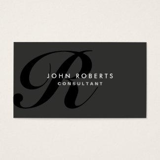 Noir moderne élégant professionnel de monogramme cartes de visite