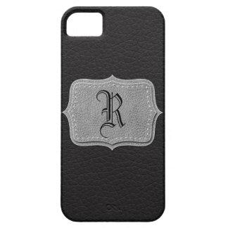 Noir monogramme personnalisé rétro par cuir coque Case-Mate iPhone 5