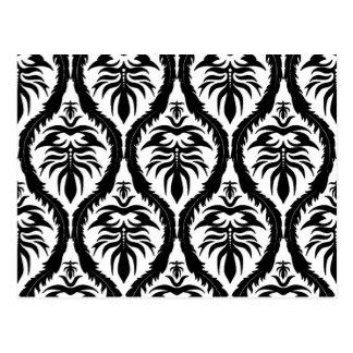 Noir sur la damassé blanche florale carte postale