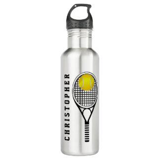 Nom ou monogramme personnalisé par tennis bouteille d'eau en acier inoxydable