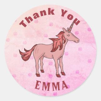Nom rose de Merci de licorne Sticker Rond