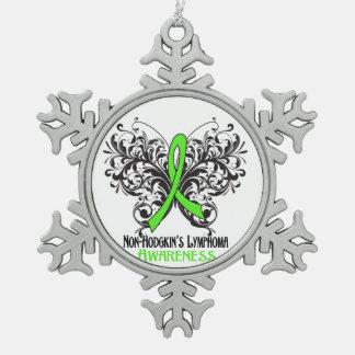 Non-Hodgkins Lymphom-Bewusstseins-Schmetterling Schneeflocken Zinn-Ornament
