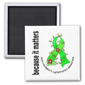 Non-Hodgkins Lymphom-Blumen-Band 3 Quadratischer Magnet