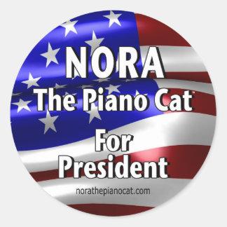Nora für Präsidenten #2 Runder Aufkleber