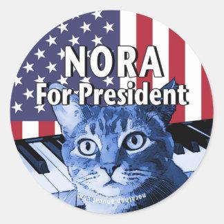 Nora für Präsidenten #4 Runder Aufkleber