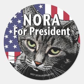 Nora für Präsidenten #7 Runder Aufkleber