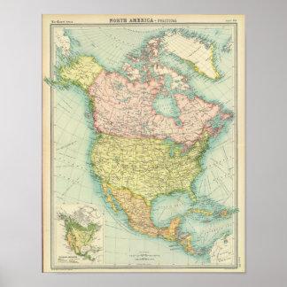 Nordamerika politisch poster
