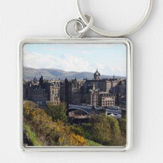 Nordbrücke, Edinburgh Silberfarbener Quadratischer Schlüsselanhänger