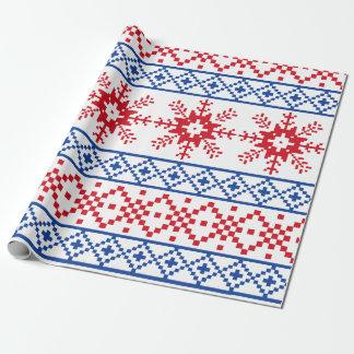 Nordische Weihnachtsschneeflocke-Grenzen Geschenkpapier