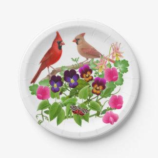 NordKardinals-Vögel im Garten-Papier-Teller Pappteller 17,8 Cm