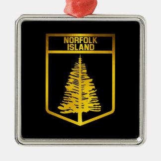 Norfolk-Insel-Emblem Quadratisches Silberfarbenes Ornament