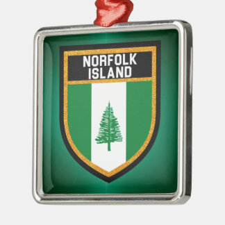 Norfolk-Insel-Flagge Quadratisches Silberfarbenes Ornament