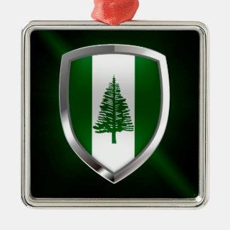 Norfolk-Insel-metallisches Emblem Silbernes Ornament