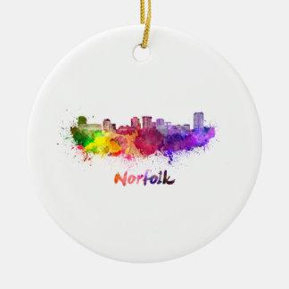 Norfolk skyline im Watercolor Keramik Ornament