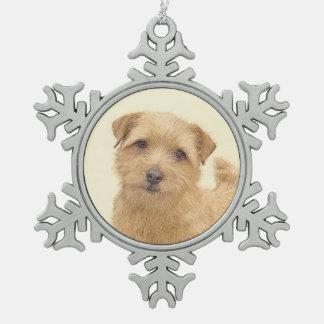 Norfolk Terrier Schneeflocken Zinn-Ornament