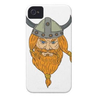 Norseman-Wikinger-Krieger-Hauptzeichnen iPhone 4 Case-Mate Hülle