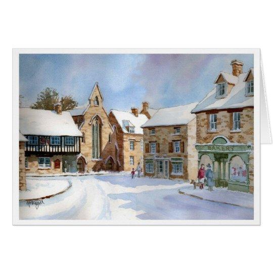 Northleach Marktplatz im Schnee Karte