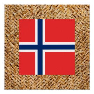 Norwegen-Flagge auf dem Gewebe themenorientiert Poster