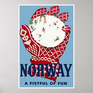Norwegen, Ski-Reise-Plakat Poster
