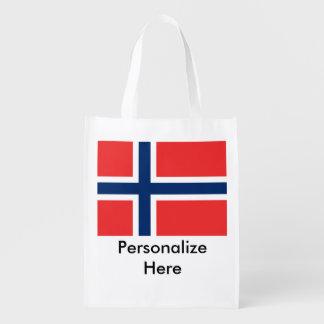 Norwegische Flaggen Wiederverwendbare Einkaufstasche