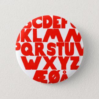 Norwegisches Alphabet Runder Button 5,1 Cm