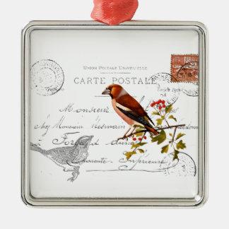 Nostalgisches Motiv  mit Vogel Silbernes Ornament
