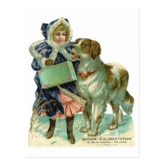 Nostalgisches viktorianisches Artmädchen mit Hund Postkarte